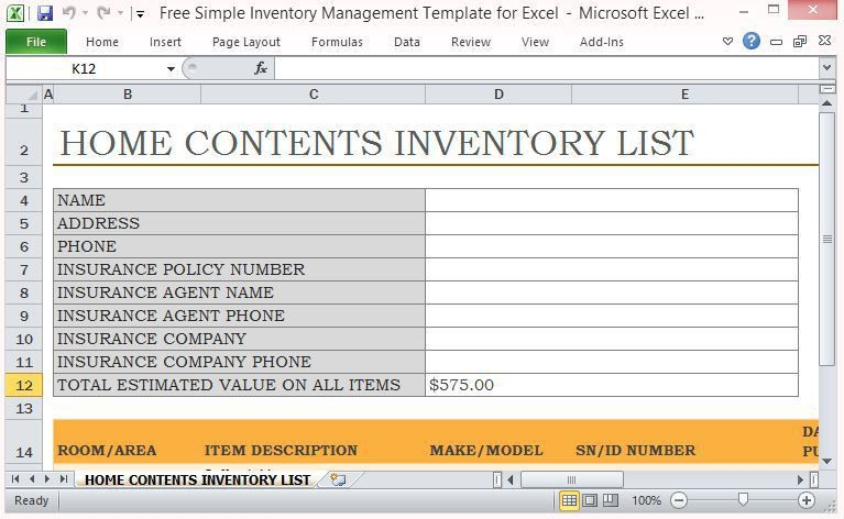 Free Simple Inventory Management Template For Excel