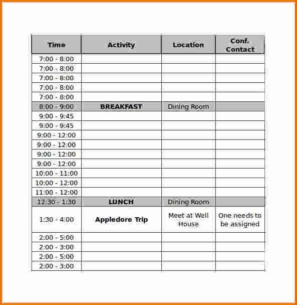 5 conference schedule template | Divorce Document