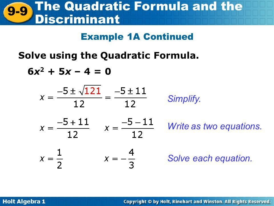 The Quadratic Formula 9-9 and the Discriminant Warm Up - ppt video ...
