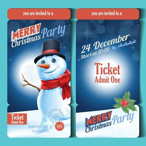 Merry christmas party ticket template vector - Vector Card, Vector ...
