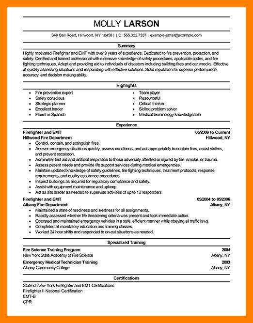 firefighter resume best firefighter resume example livecareer