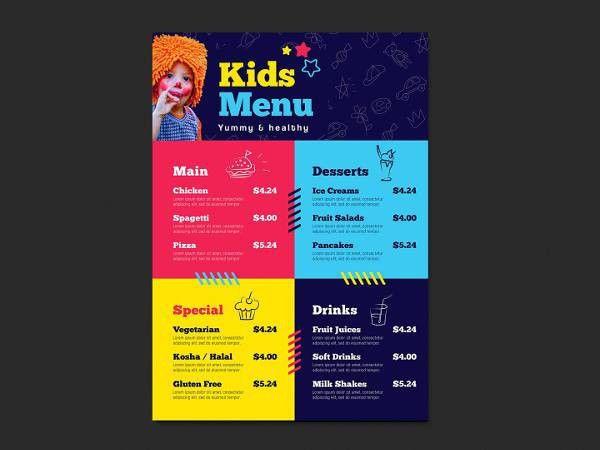 6+ Children Party Menu - Designs, Templates | Free & Premium Templates