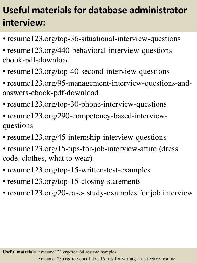 Top 8 database administrator resume samples
