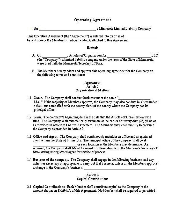 Business Operating Agreement Sample. Free Llc Operating Agreement ...