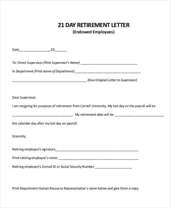 retirement sample letter