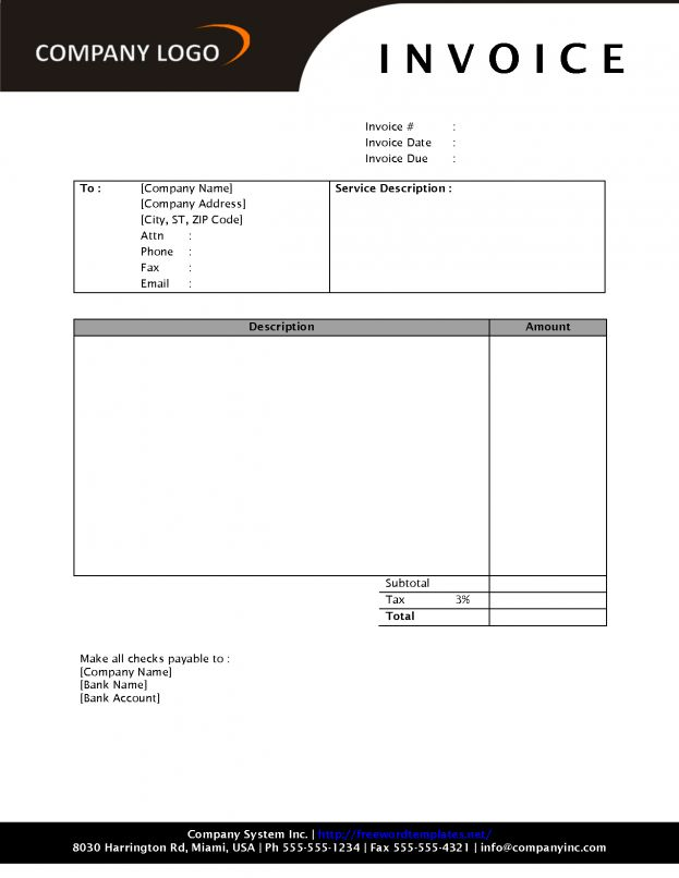 Blank Invoice Template For Microsoft Word Printable Shopping List ...