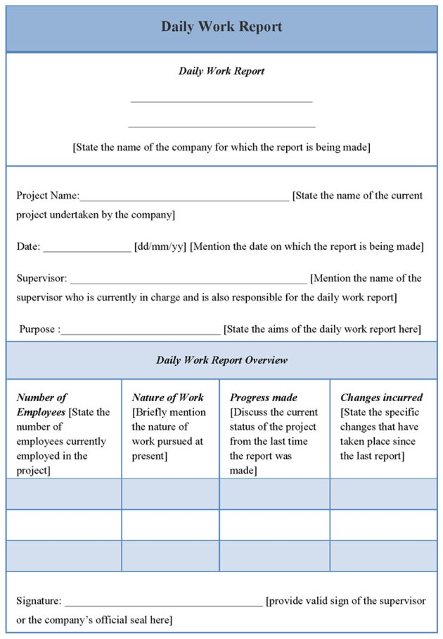 Daily Work Report Template with Blue Table Layout : Helloalive