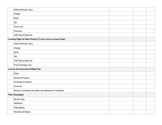 Product Launch Checklist Template - CHECKLIST