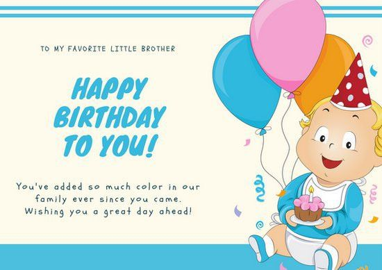 Blue Baby Illustration Brother Birthday card - Templates by Canva