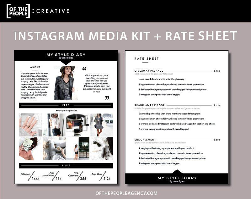 2-Page Media Kit Rate Sheet Template For Instagram
