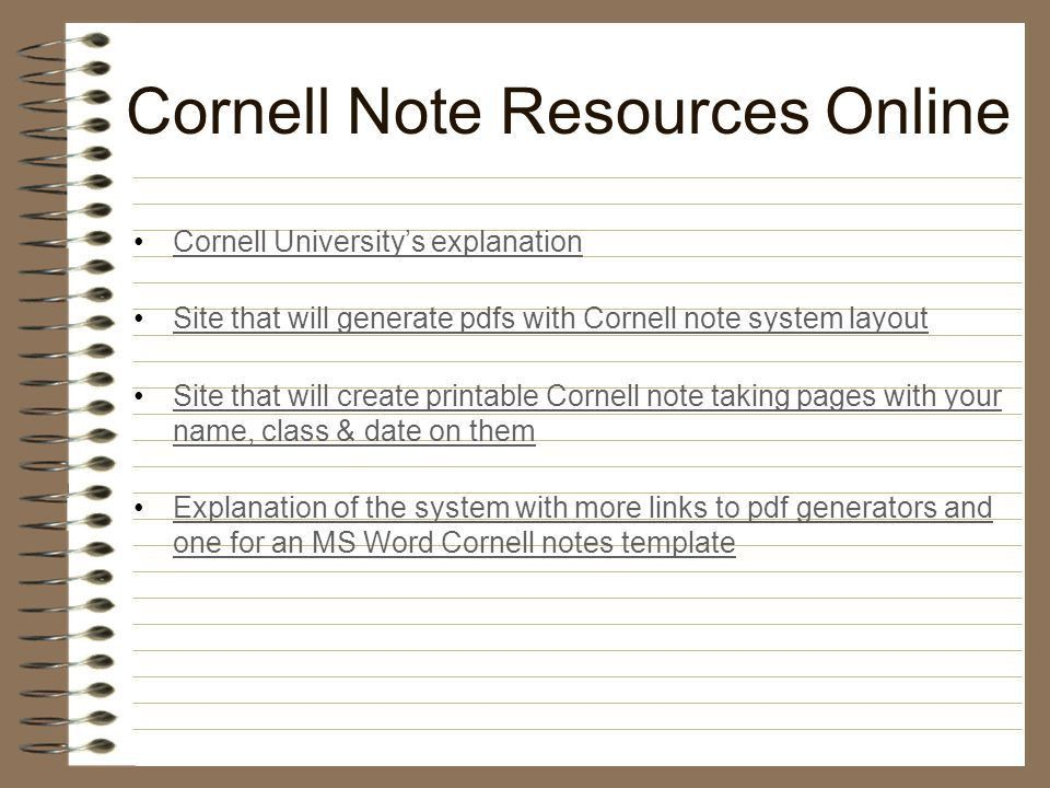 THE MODIFIED CORNELL NOTE TAKING SYSTEM - ppt download