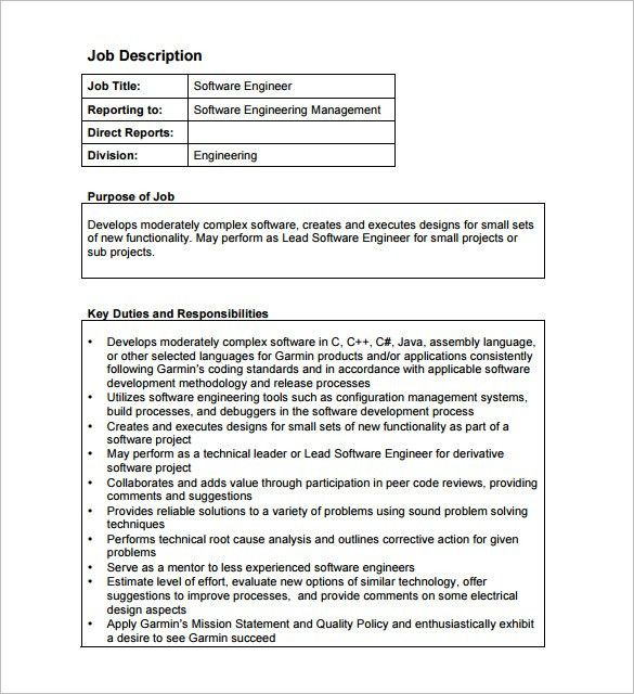 Software Engineer Job Description Examples Indeedcom - mandegar.info