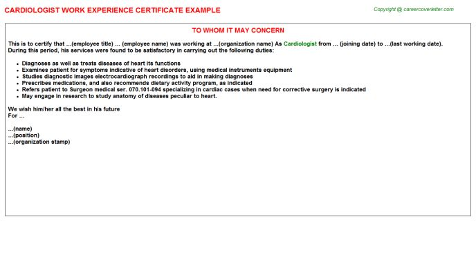 Cardiologist Work Experience Certificate