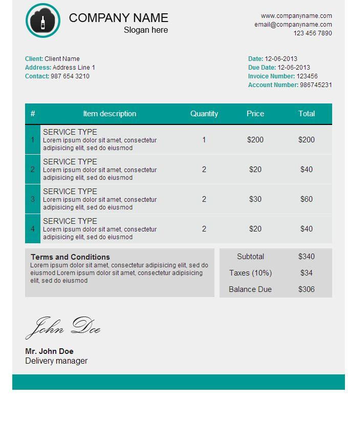 Invoice Html Template | free printable invoice