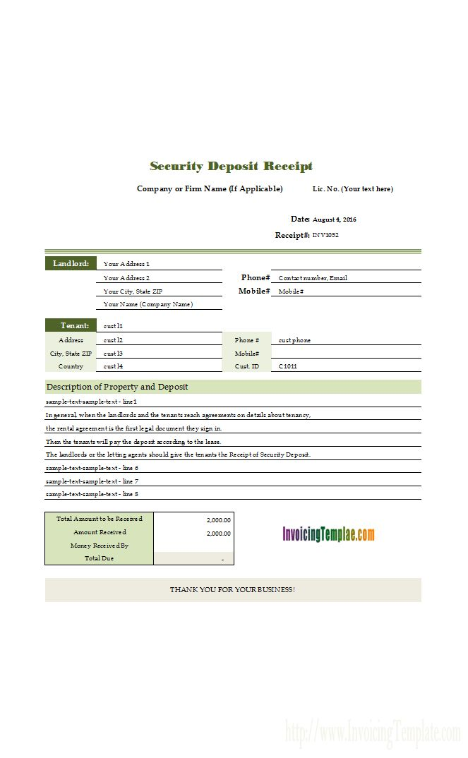 Jewelry Receipt Template
