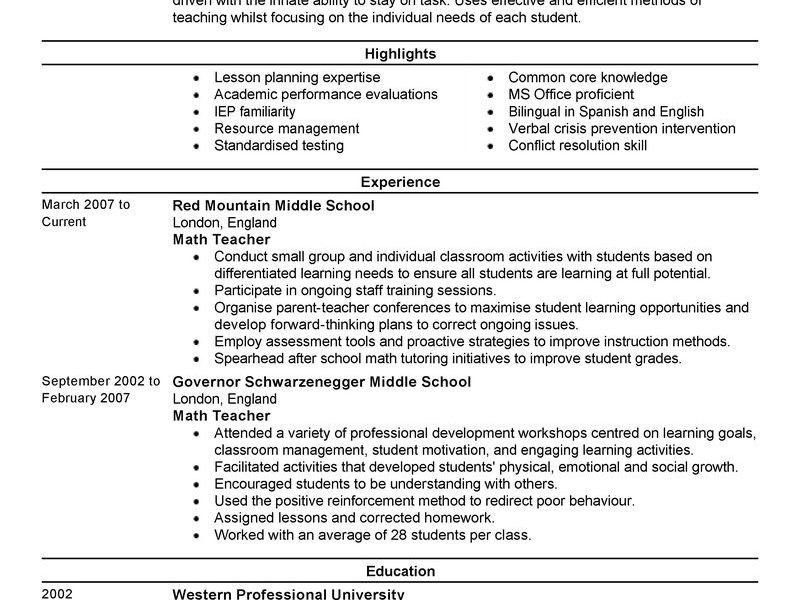 Prissy Ideas Sample Teaching Resume 13 Best Teacher Resume Example ...