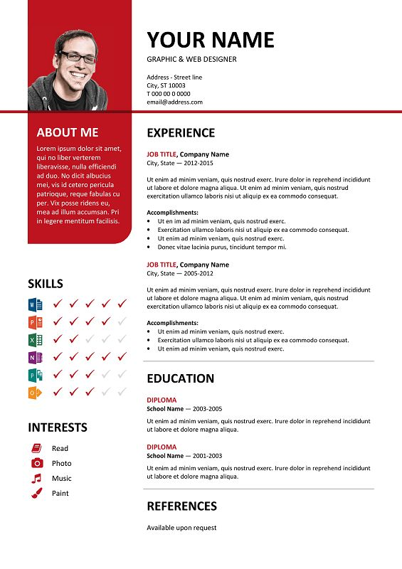 Bayview Free Resume Template Microsoft Word - Red Layout | Classic ...