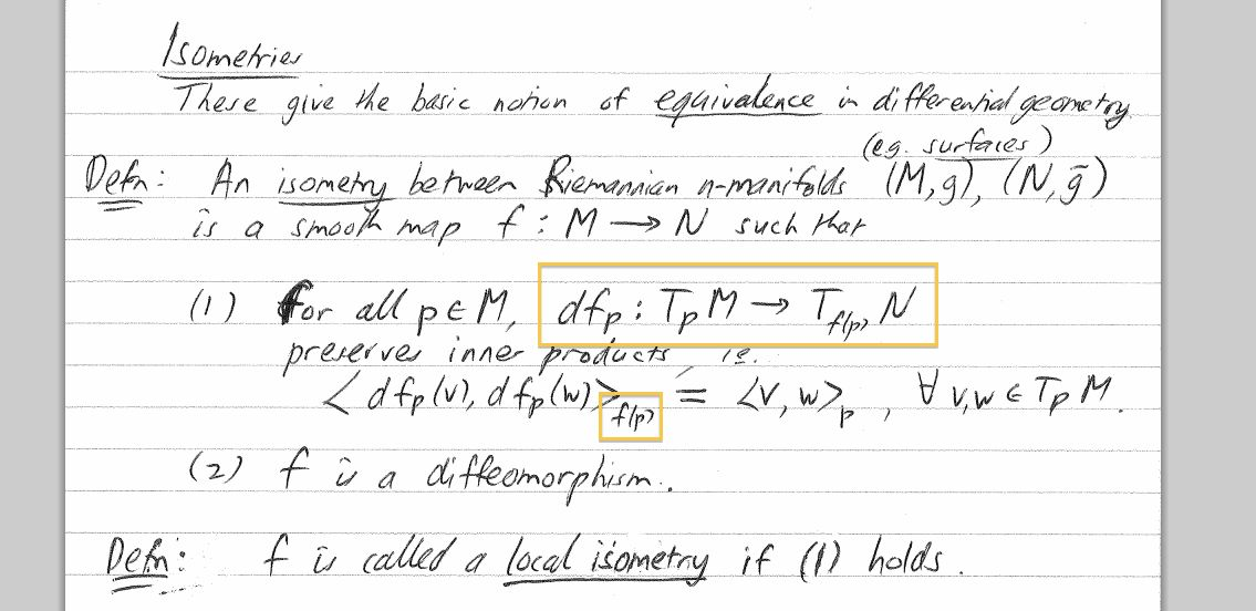 differential geometry - Isometry: the dot product and derivative ...