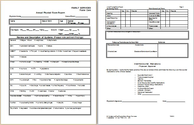 Physical Examination Report Form | Printable Medical Forms ...