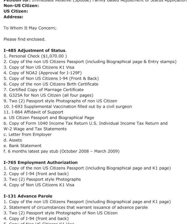 Well-Suited Design I-485 Cover Letter 1 Format For Uscis - CV ...