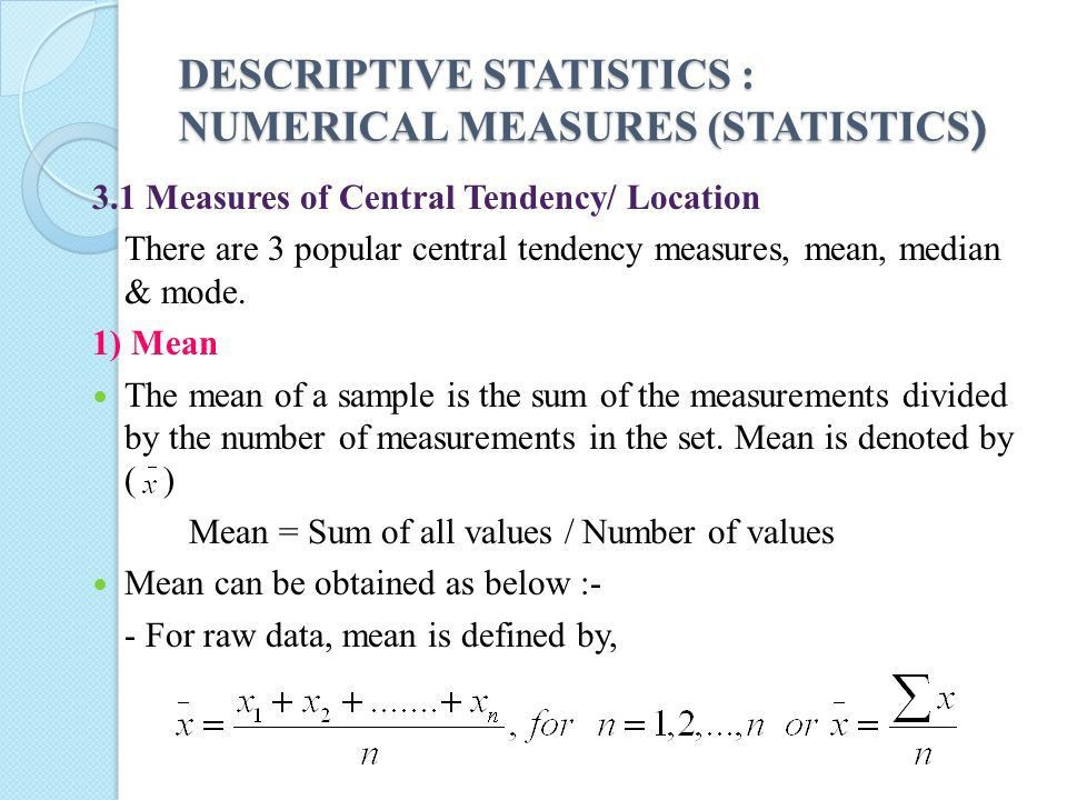 CHAPTER 3 : DESCRIPTIVE STATISTIC : NUMERICAL MEASURES (STATISTICS ...