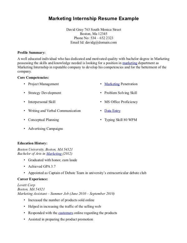 download advertising internship sample resume