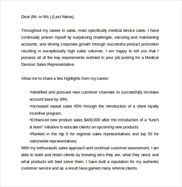 cover letter medical sales cover letter examples inside sales rep ...