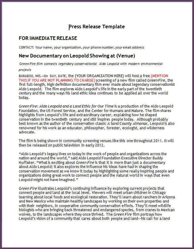 PRESS RELEASE TEMPLATE WORD | cvsampleform.com