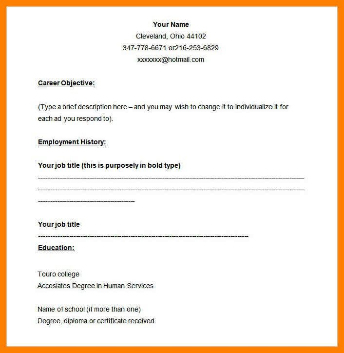 4+ blank simple resume template | pilot resumed