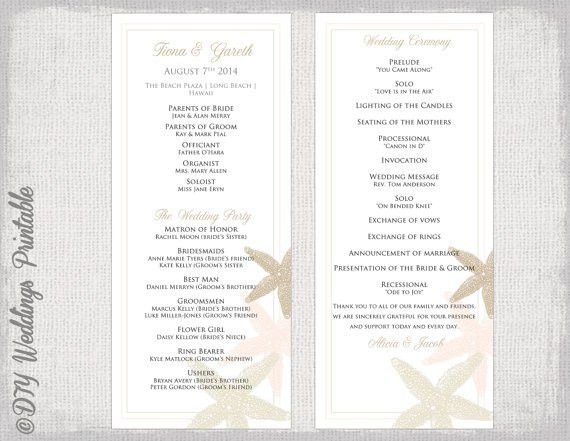Beach Wedding program template Starfish wedding