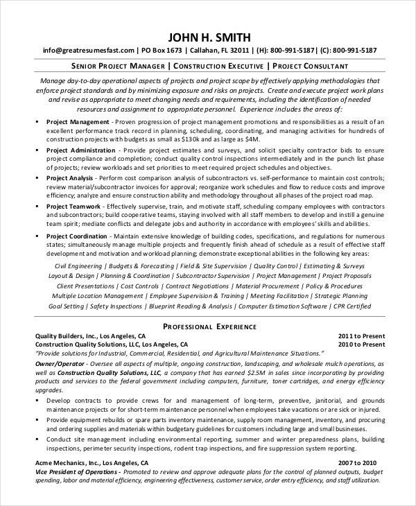 Construction Resume Example - 9+ Free Word, PDF Documents Download ...