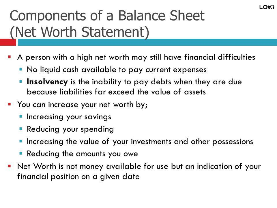 Learning Objective # 3 Develop a personal balance sheet and cash ...