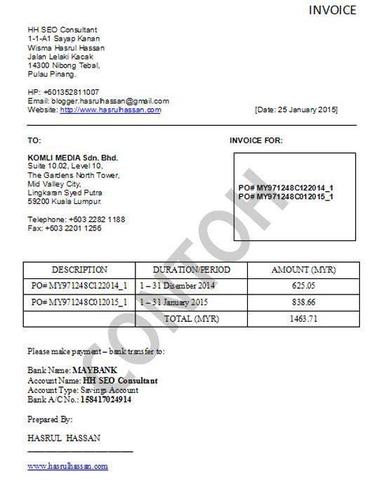 contoh invoice web design   Free Invoice