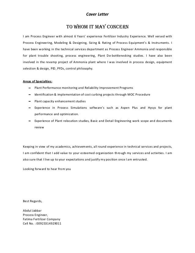 Process Control Engineer Cover Letter