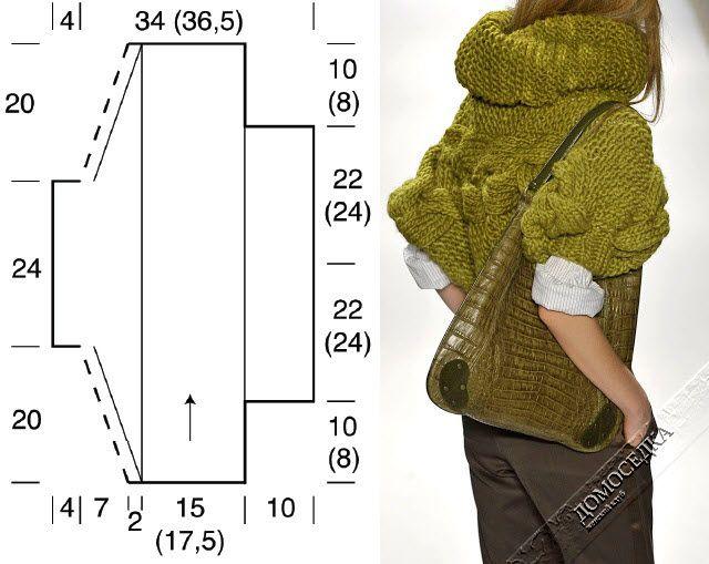 Вязание свитера одним полотном