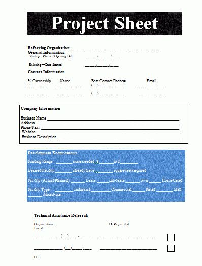 Project Sheet Template | Free Sheet Templates