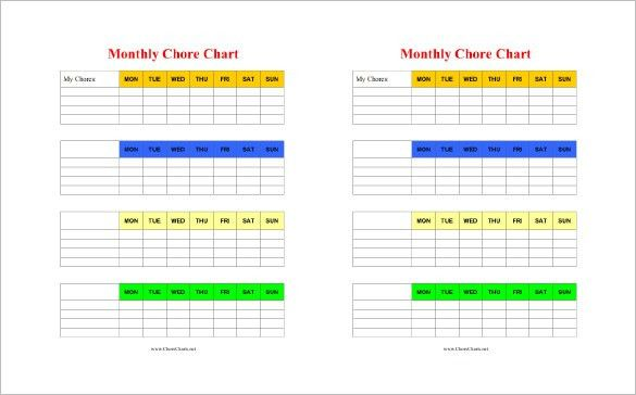 Chore Chart Template - 6 Free PDF, Word Documents Download | Free ...