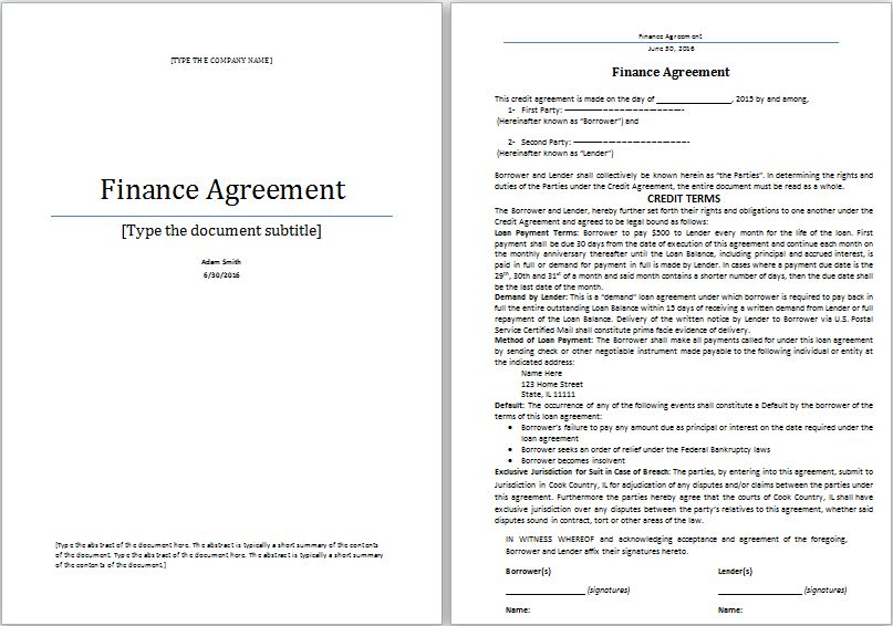 MS Word Finance Agreement Template | Word Document Templates