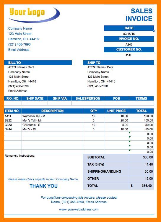 8+ sales invoice format in excel | packaging clerks