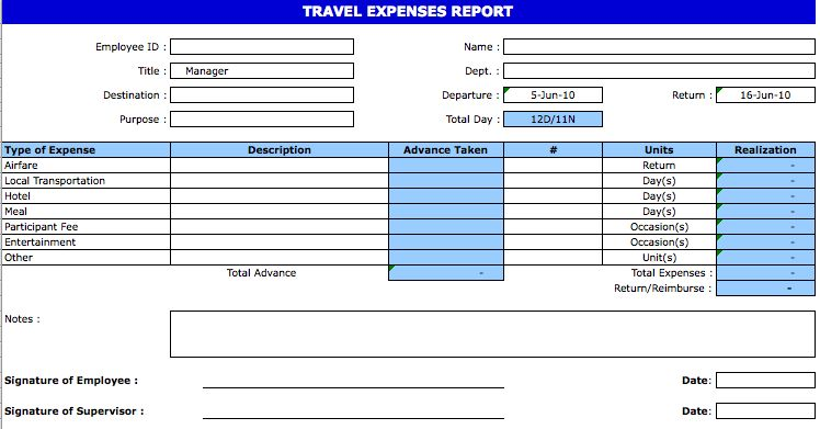 Travel Expense Report Template | Microsoft Excel Templates