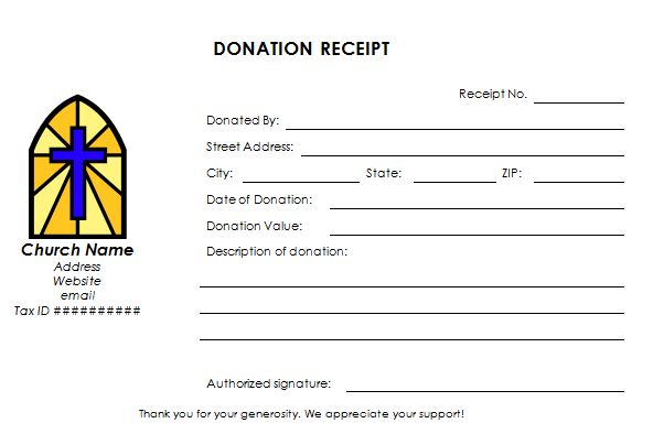 Church Donation Receipt Template