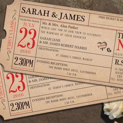 Ticket to Love Day Invitation   Wedding Invitations