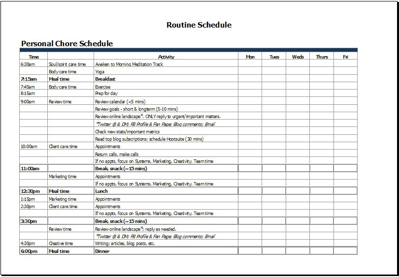 MS Excel Personal Chore Schedule Template | Word Document Templates