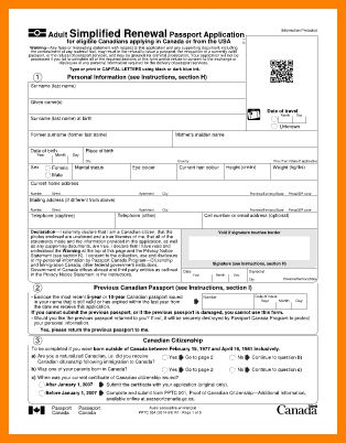 9+ canadian passport renewal application form   barber resume