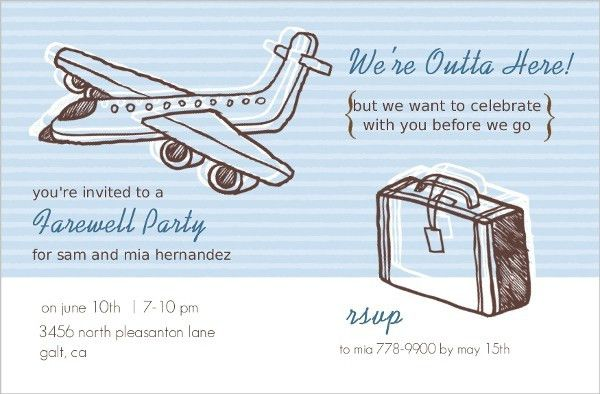 Sketchy Airplanes Farewell Party Invite | Going Away Party Invitations