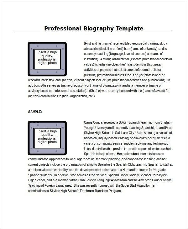 Microsoft Word Biography Template - cv01.billybullock.us