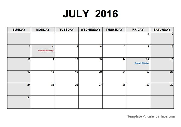 2016 PDF Calendar Templates - Download Free 2016 PDF Calendar
