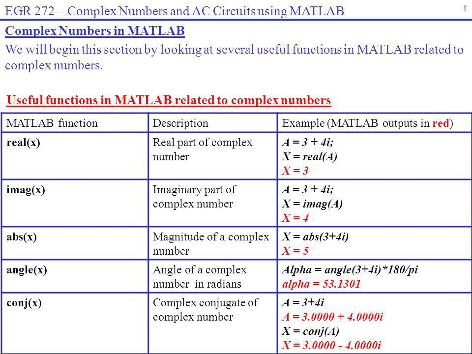 EGR 272 – Complex Numbers and AC Circuits using MATLAB - ppt download