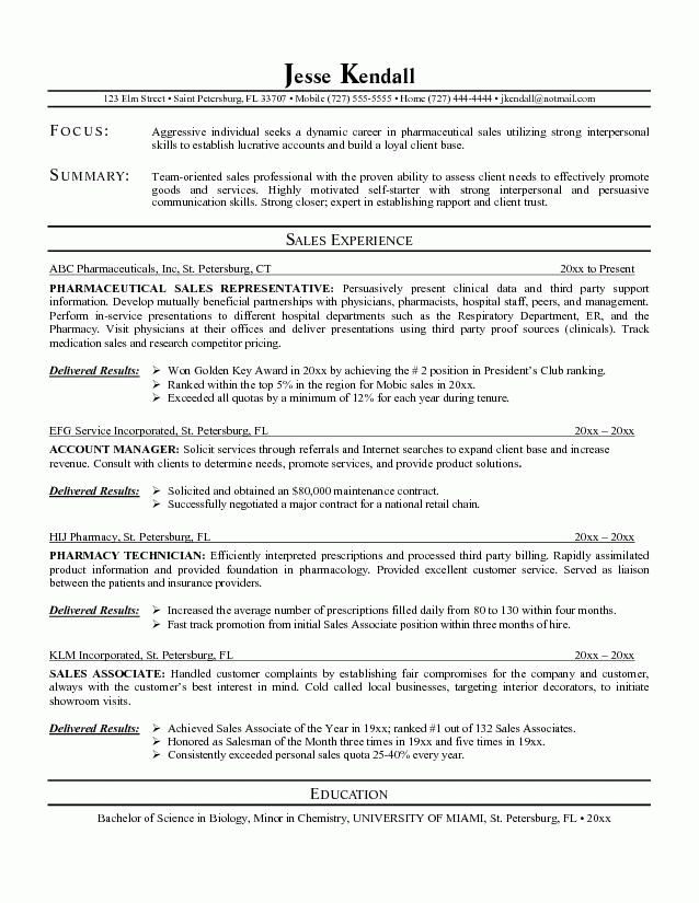 pharmaceutical sales representative resume example ...