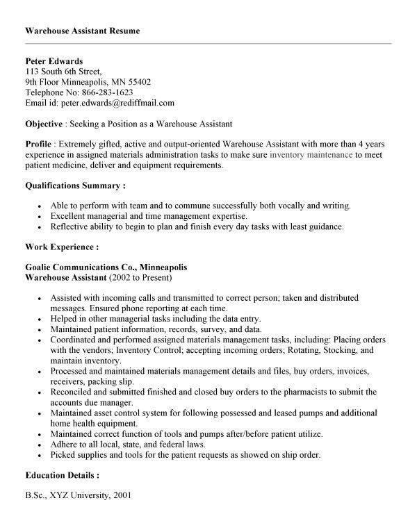 warehouse job resume sample veterinary assistant resume samples ...